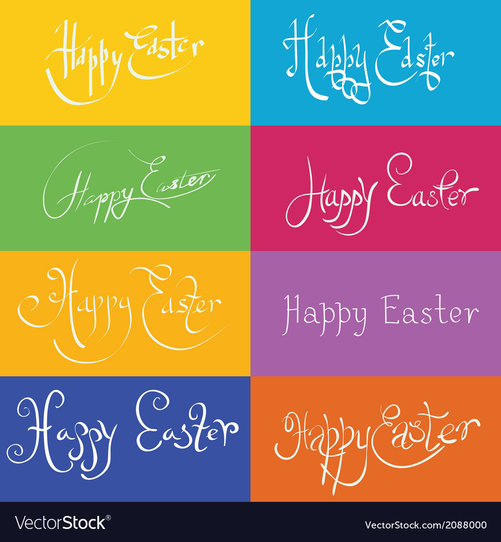 Set of hand drawn typograhy happy easter vector | Price: 1 Credit (USD $1)