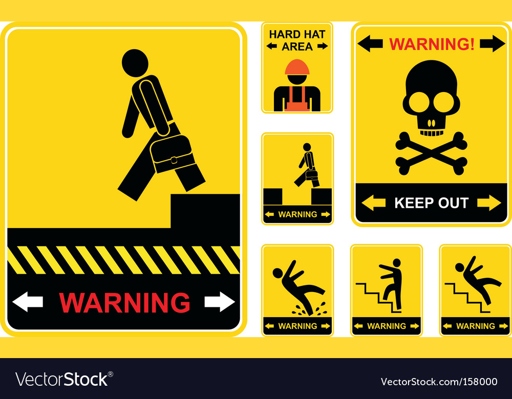 Set of warning signs vector | Price: 1 Credit (USD $1)