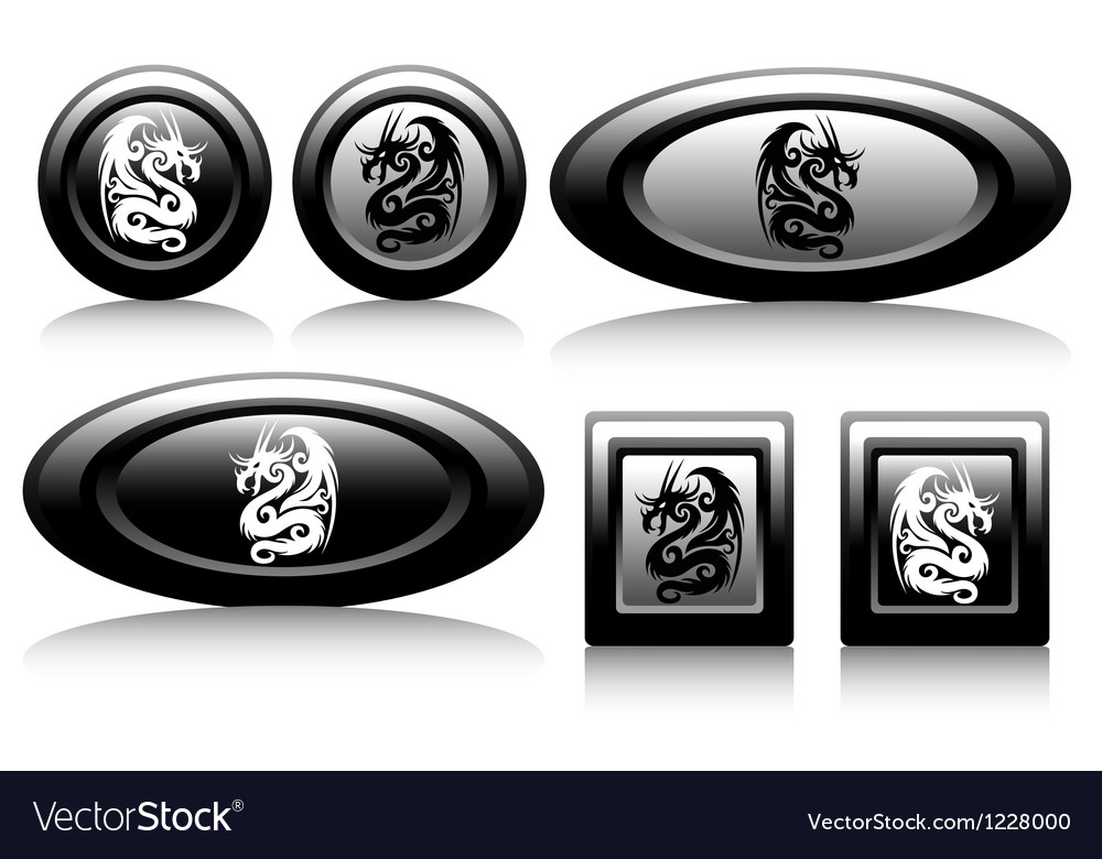 Web button with dragons black and white vector | Price: 1 Credit (USD $1)