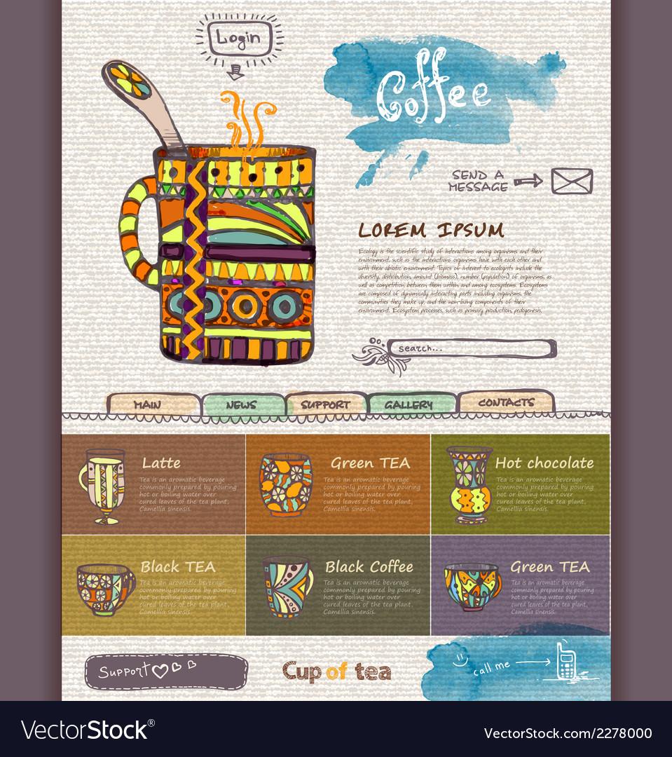 Web site design template decorative cup of coffee vector | Price: 1 Credit (USD $1)