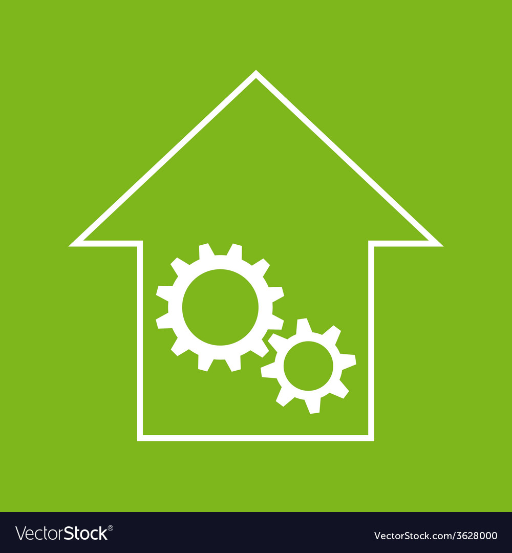 White and green house with gear wheels vector | Price: 1 Credit (USD $1)