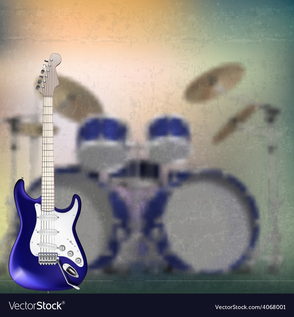 Abstract grunge background with electric guitar vector | Price: 1 Credit (USD $1)