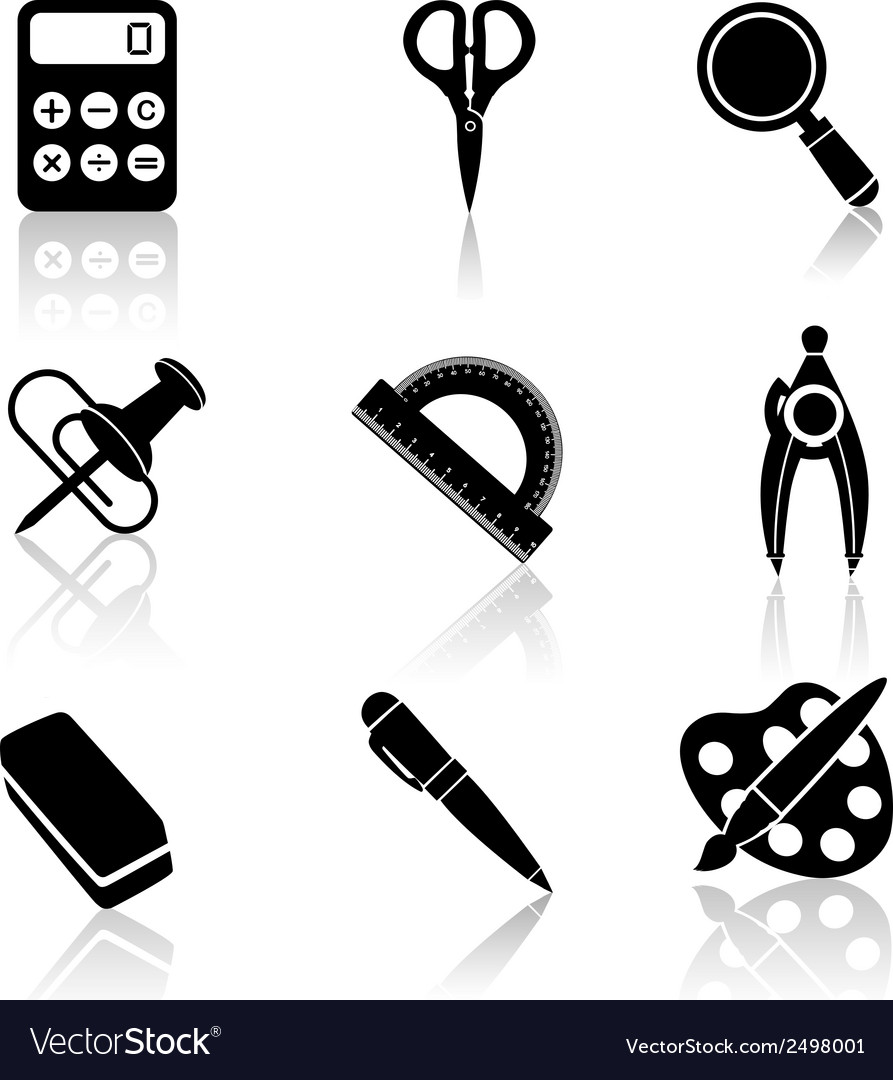 Black school icons set vector | Price: 1 Credit (USD $1)