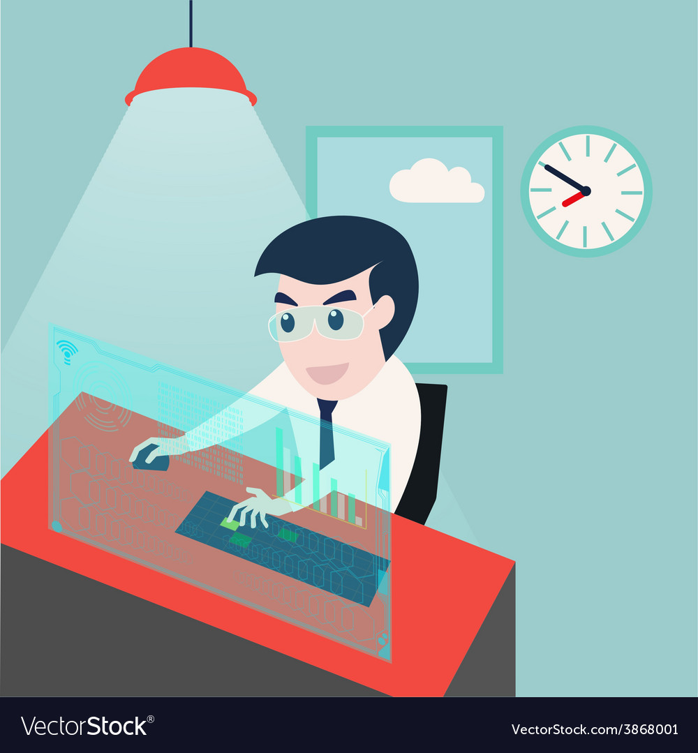 Businessman working on computer in office vector | Price: 1 Credit (USD $1)