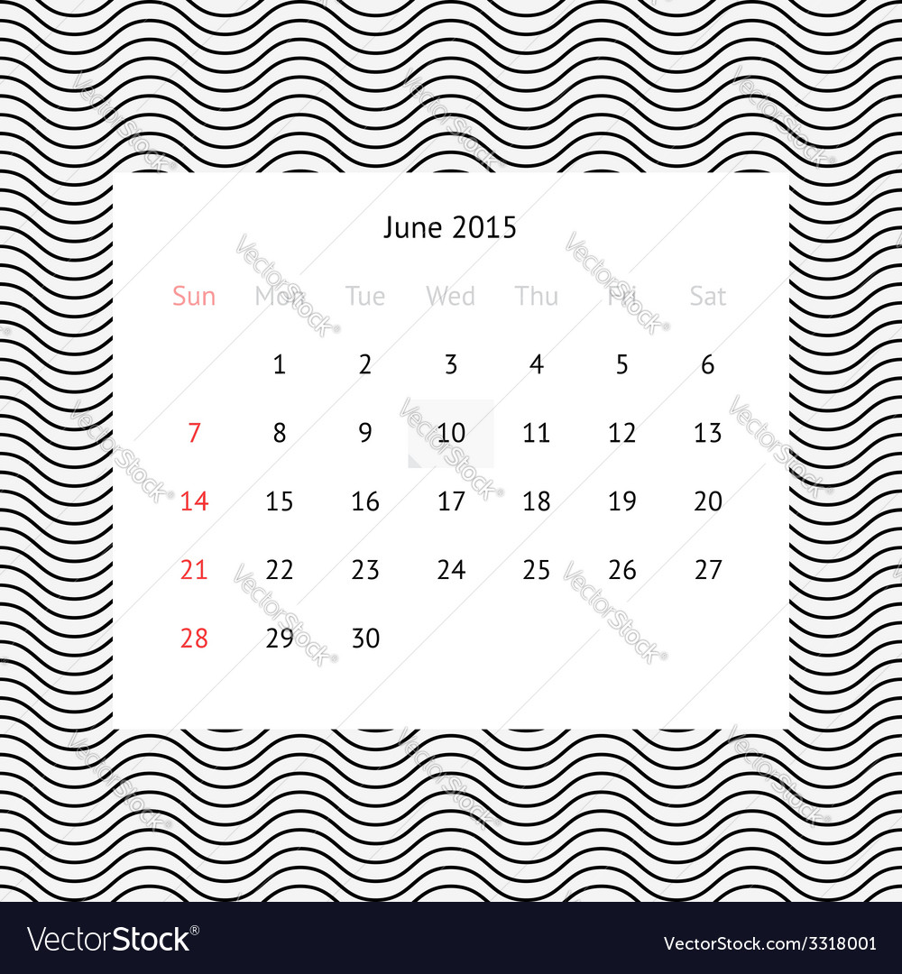 Calendar page for june 2015 vector   Price: 1 Credit (USD $1)