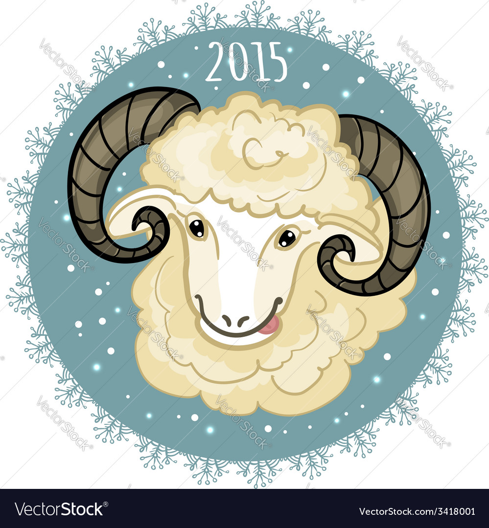 Card with blue-green snowflake and little cute ram vector   Price: 1 Credit (USD $1)
