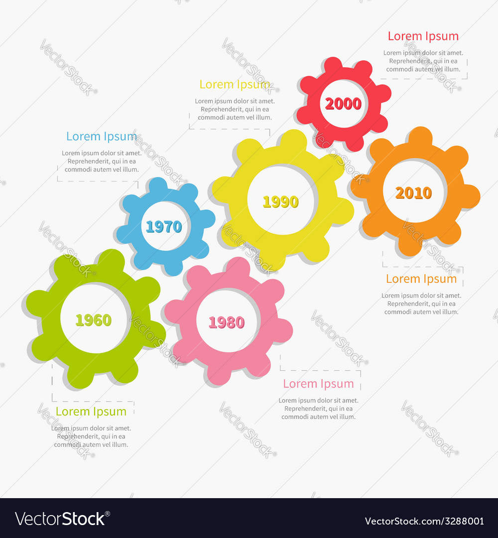 Colorful cogwheel gear timeline infographic vector | Price: 1 Credit (USD $1)