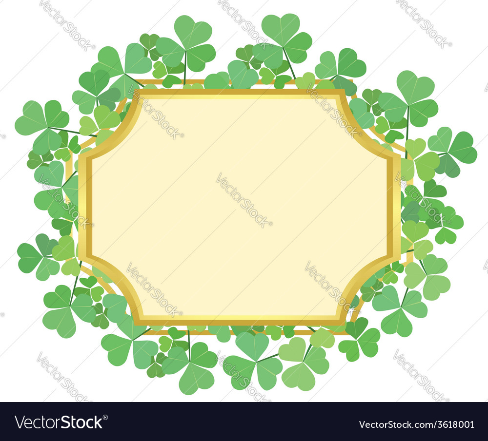 Gold frame with green shamrock vector | Price: 1 Credit (USD $1)