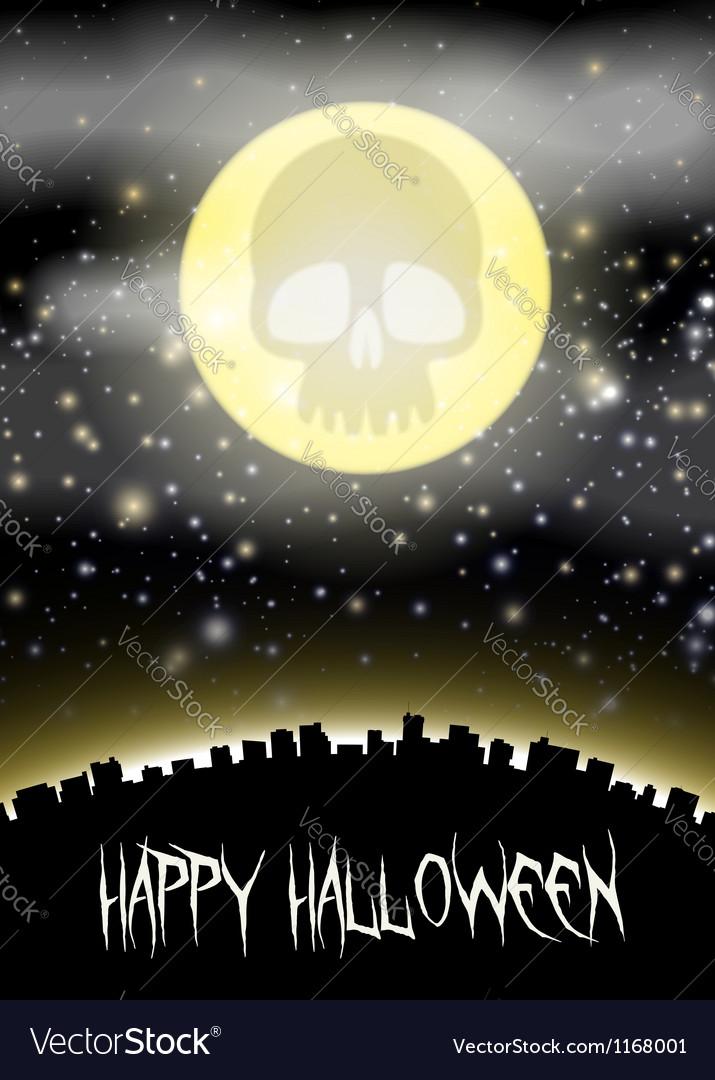 Halloween city witj skull moon theme vector | Price: 1 Credit (USD $1)