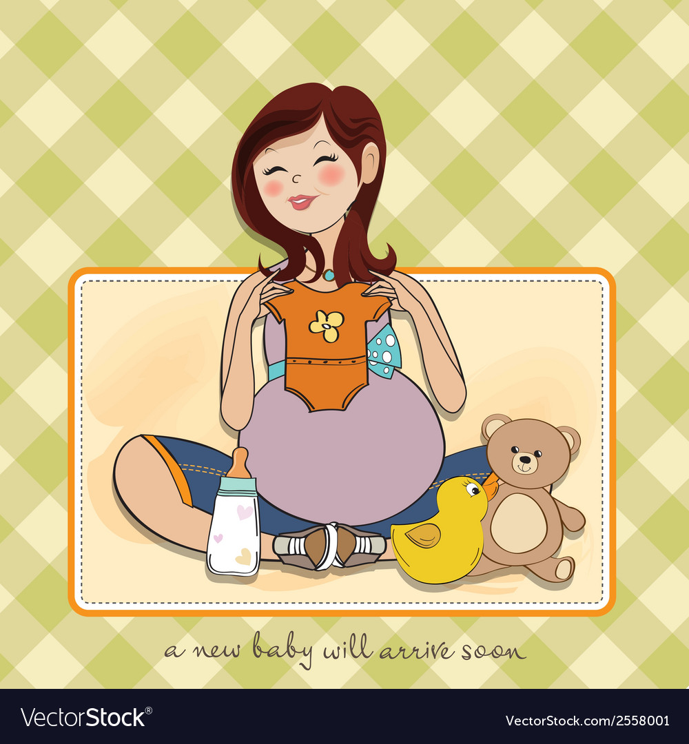 Happy pregnant woman baby shower card vector | Price: 1 Credit (USD $1)