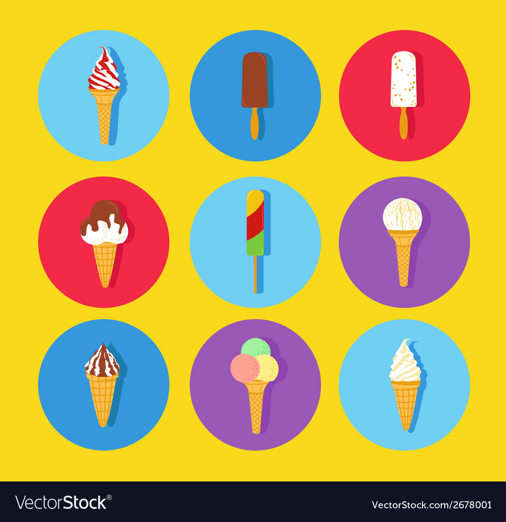 Ice cream icon set vector | Price: 1 Credit (USD $1)