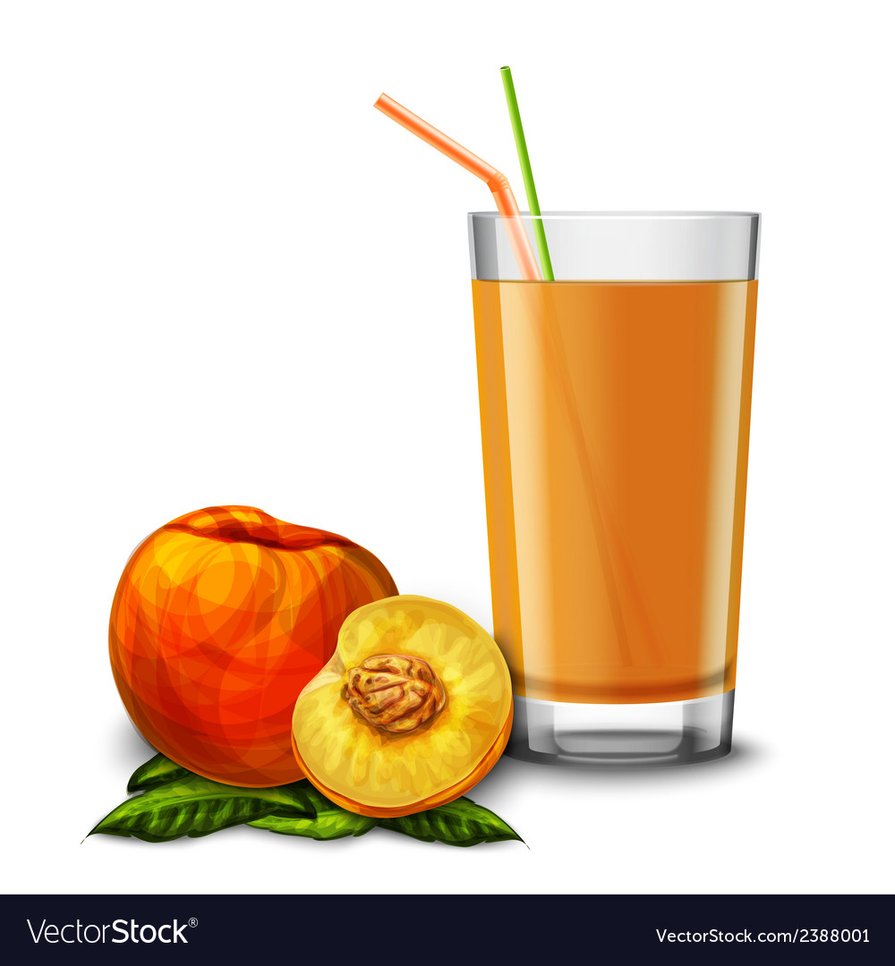 Peach juice glass vector | Price: 1 Credit (USD $1)