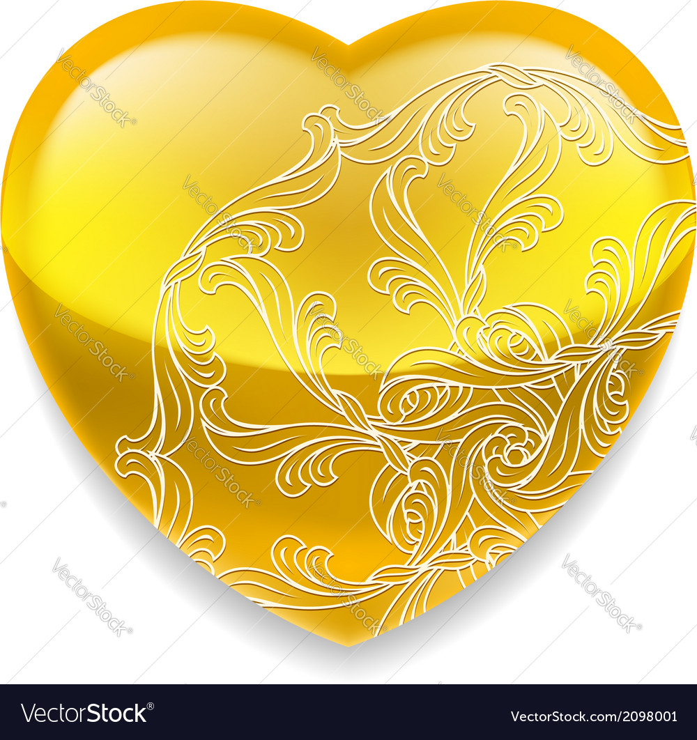 Shiny yellow heart with decor vector | Price: 1 Credit (USD $1)