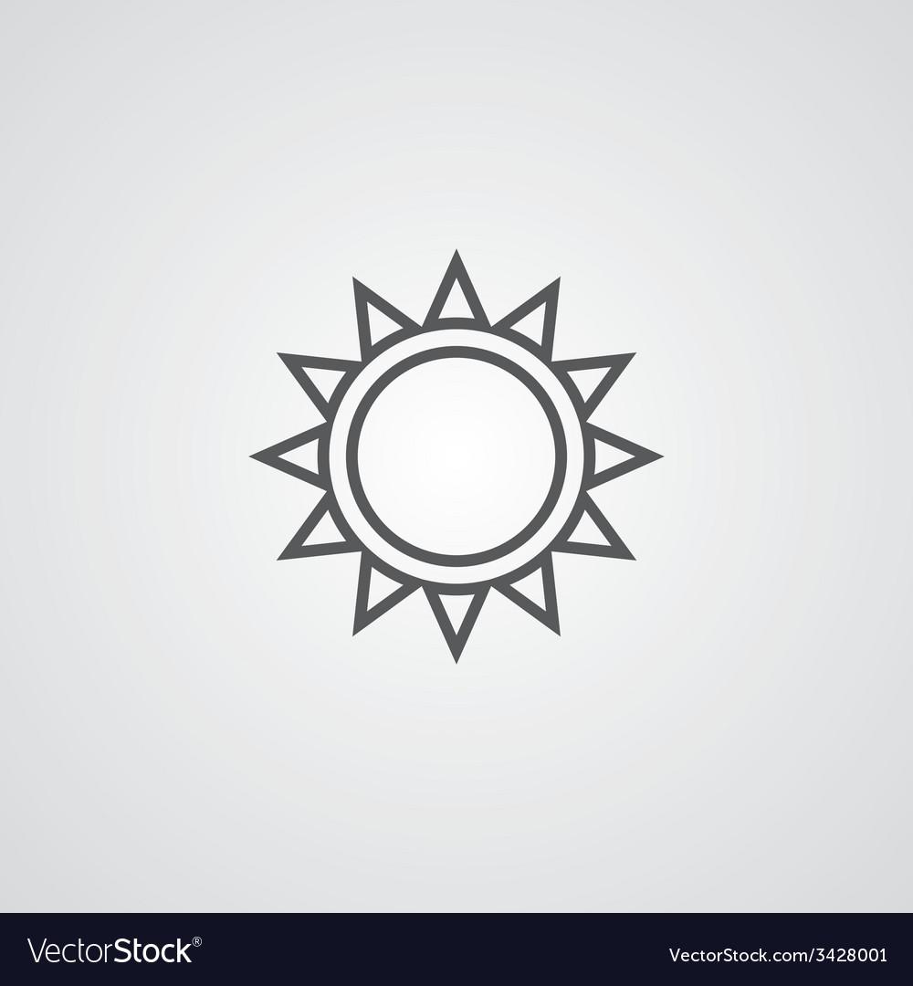 Sun outline symbol dark on white background logo vector   Price: 1 Credit (USD $1)