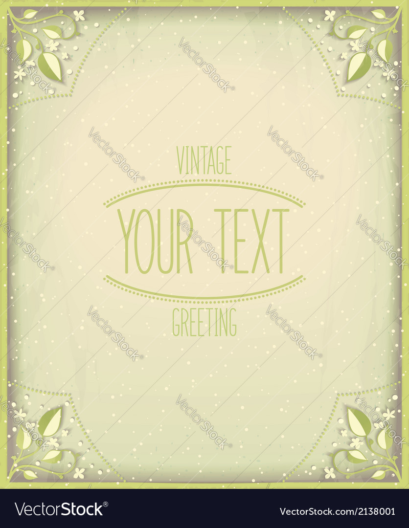 Vintage nature card template vector | Price: 1 Credit (USD $1)