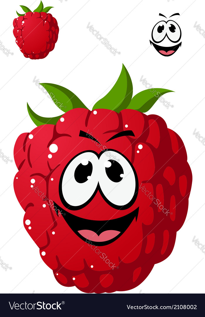 Cartoon ripe red raspberry with a cheeky grin vector   Price: 1 Credit (USD $1)