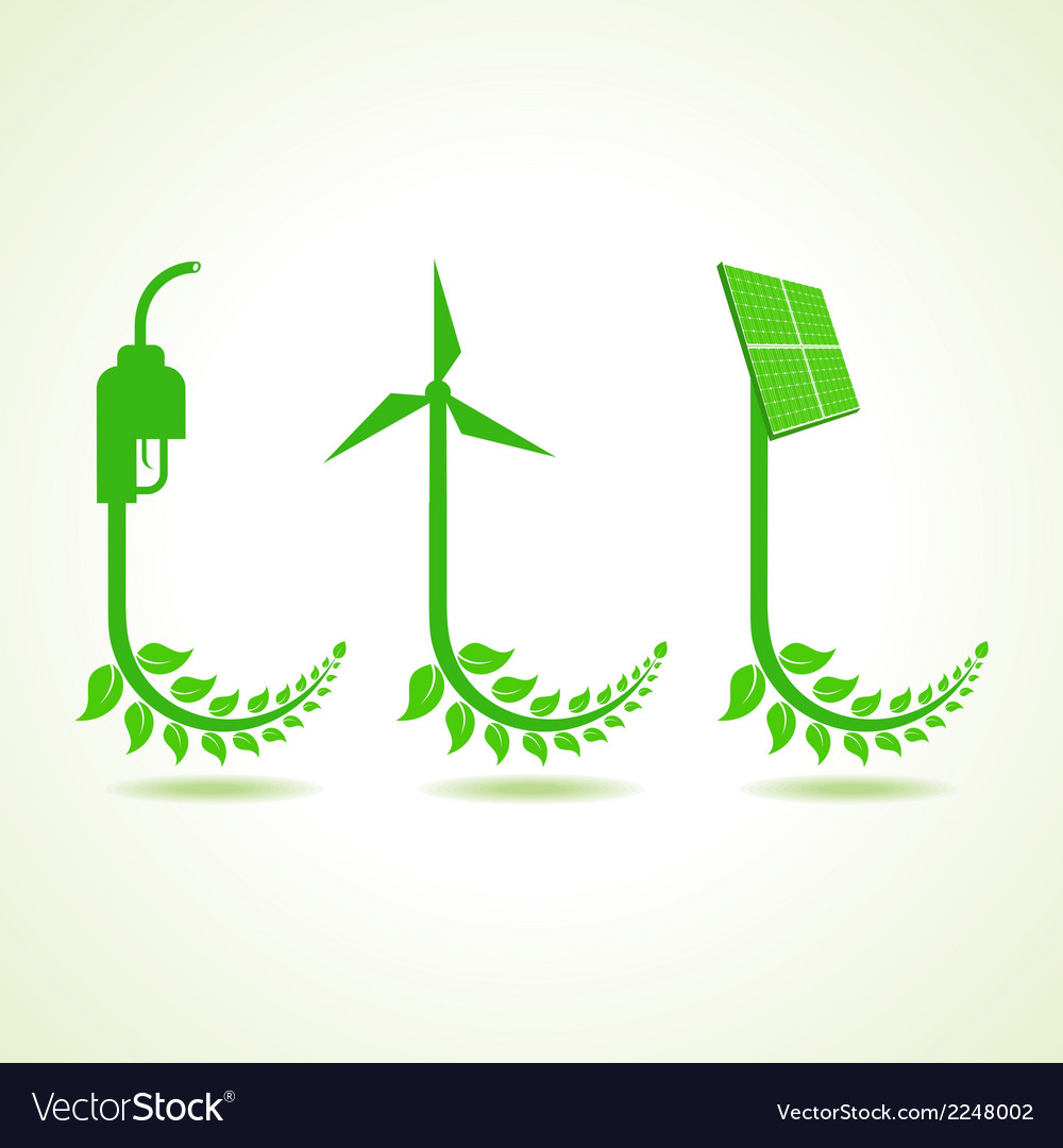 Eco icon with nozzlewind-mill and solar panel vector | Price: 1 Credit (USD $1)