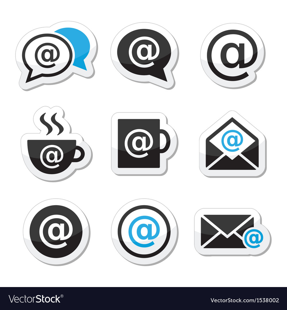 Email internet cafe wifi icons set vector | Price: 1 Credit (USD $1)