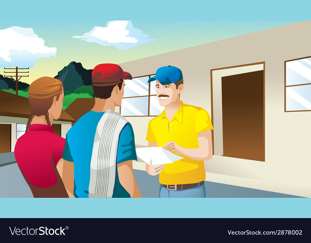 Farmers making business in front of house man vector | Price: 3 Credit (USD $3)