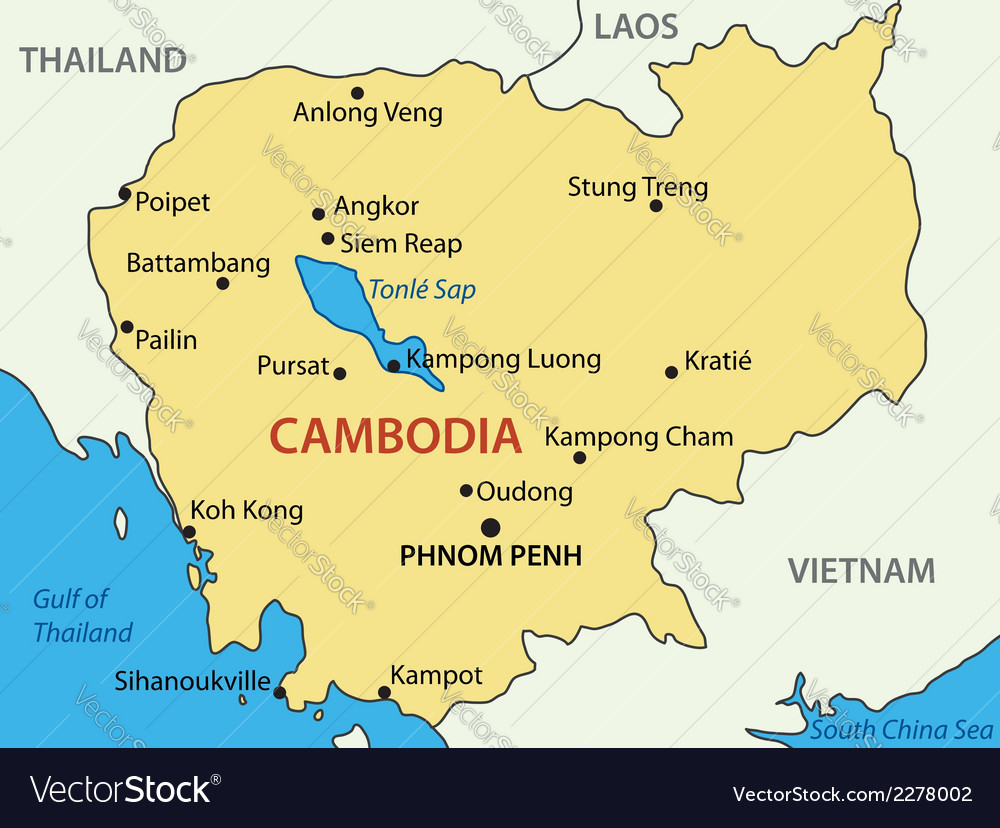 Kingdom of cambodia - map vector | Price: 1 Credit (USD $1)