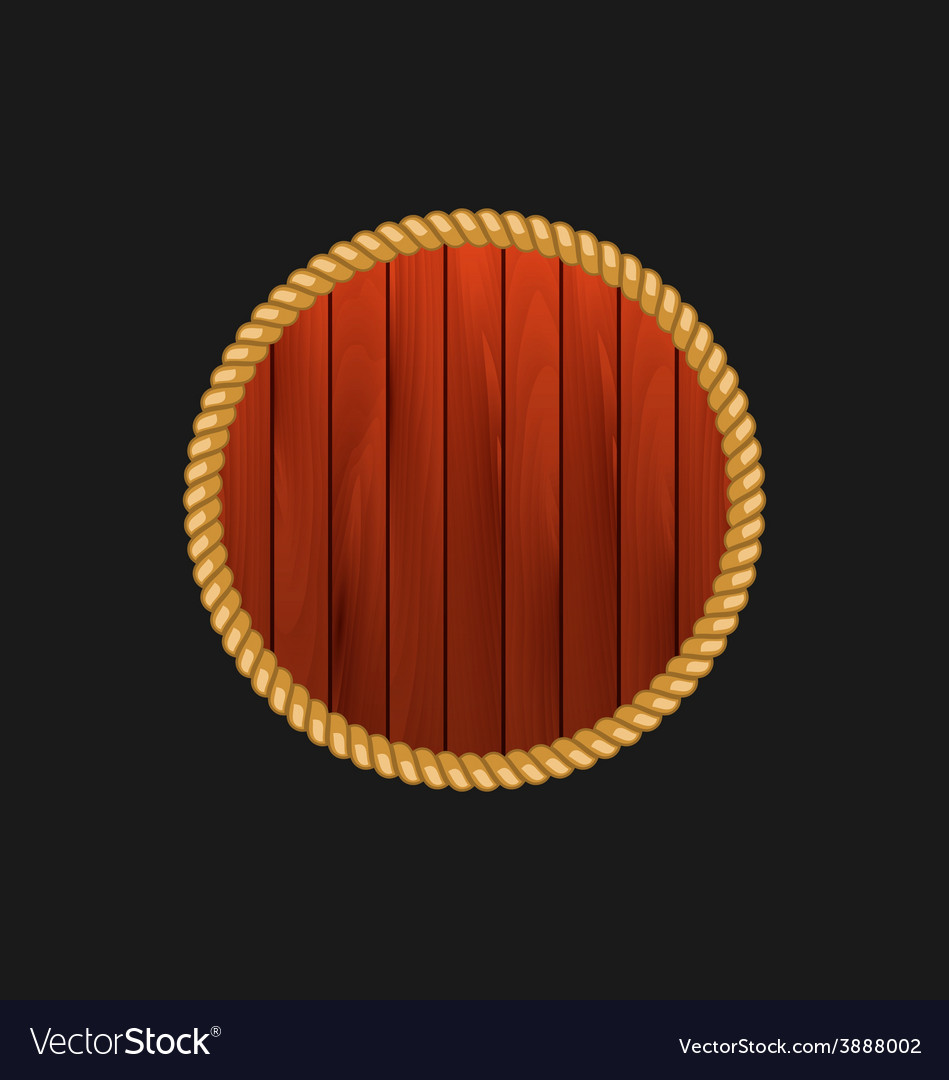 Round wooden frame with rope isolated on dark vector | Price: 1 Credit (USD $1)