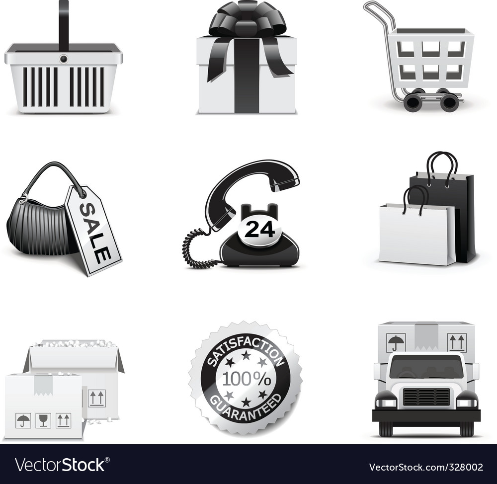 Shopping icons | bw series vector | Price: 3 Credit (USD $3)