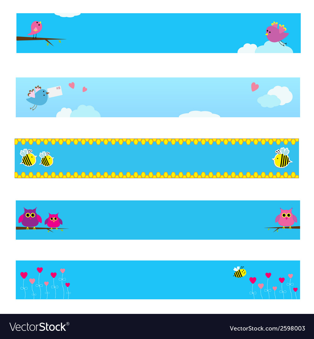 Banner set with bird bee owl and flowers vector | Price: 1 Credit (USD $1)