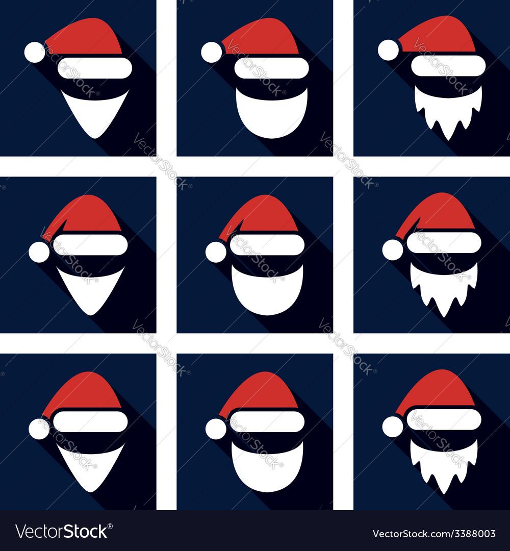 Christmas flat icon set of santa vector | Price: 1 Credit (USD $1)