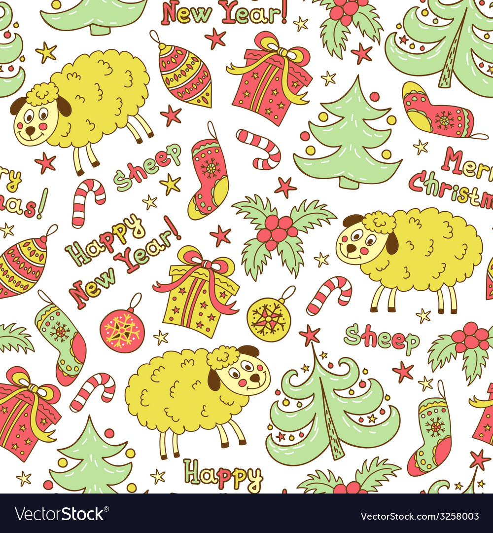 Christmas seamless pattern with animals sheep vector | Price: 1 Credit (USD $1)