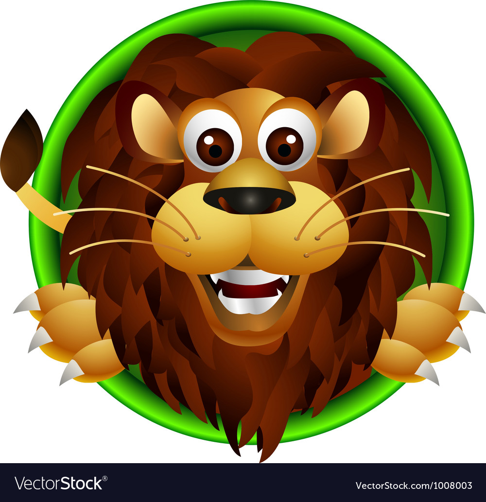 Cute lion head cartoon vector | Price: 3 Credit (USD $3)