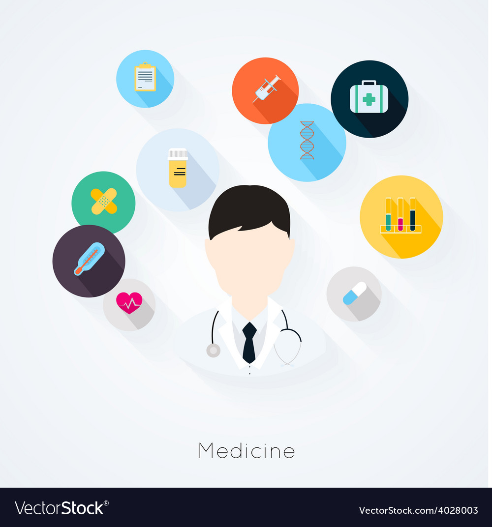 Doctor character with medicine icons vector | Price: 1 Credit (USD $1)