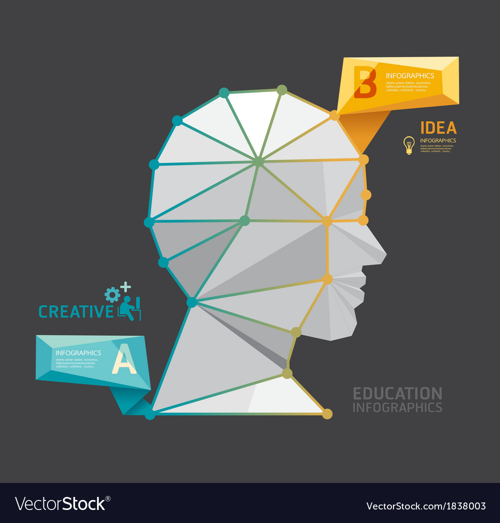 Geometric modern design head style infographic vector | Price: 1 Credit (USD $1)