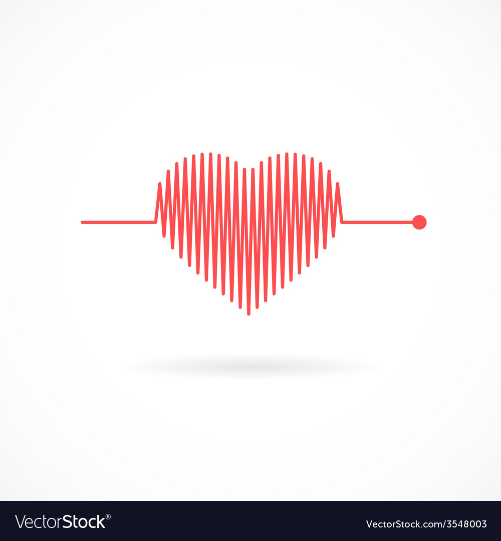 Heartbeat with heart shape vector | Price: 1 Credit (USD $1)