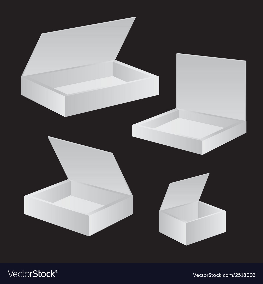 Opened white cardboard package box vector | Price: 1 Credit (USD $1)