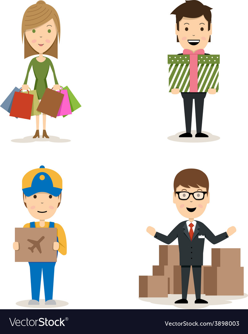People shopping characters vector | Price: 1 Credit (USD $1)