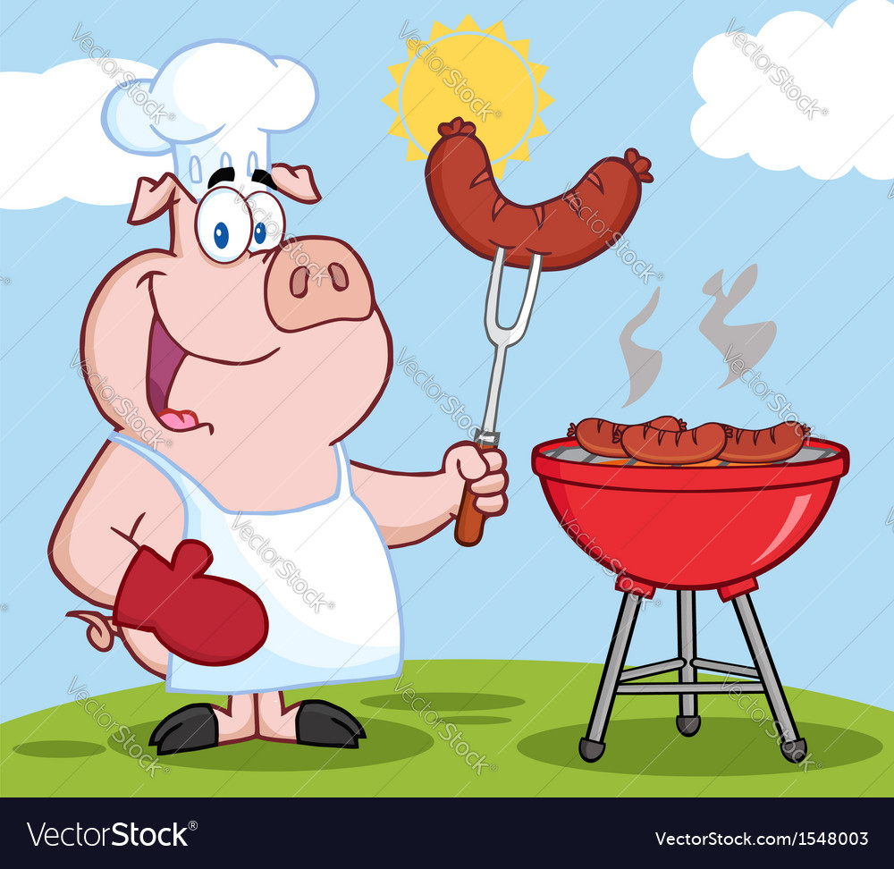 Pig chef cooking pork cartoon vector | Price: 3 Credit (USD $3)