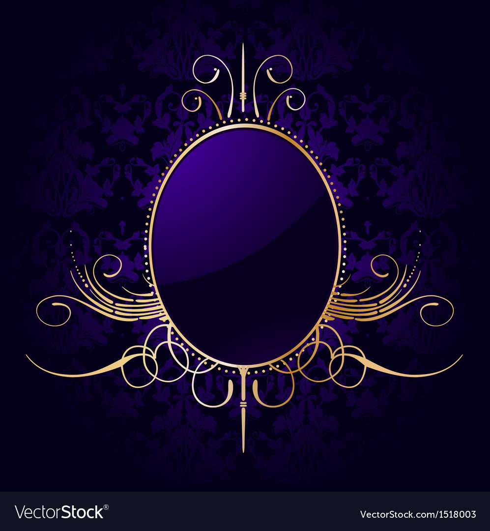Royal purple background with golden frame vector | Price: 1 Credit (USD $1)