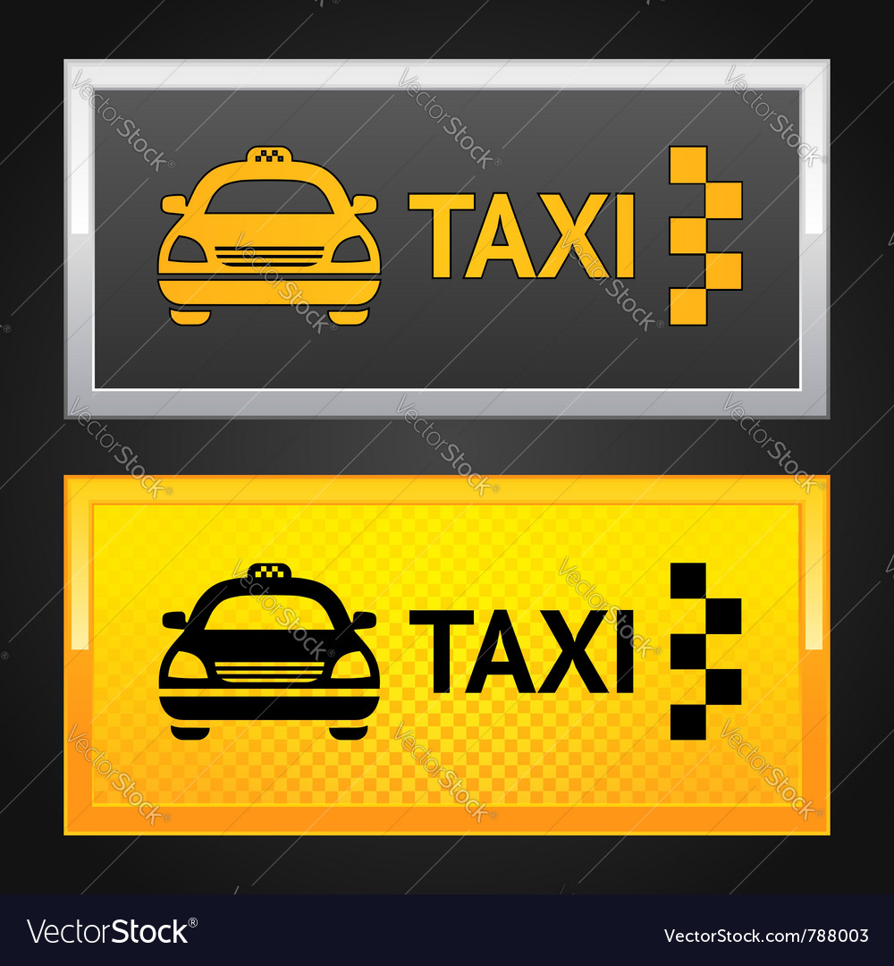 Taxi cab set label vector | Price: 1 Credit (USD $1)