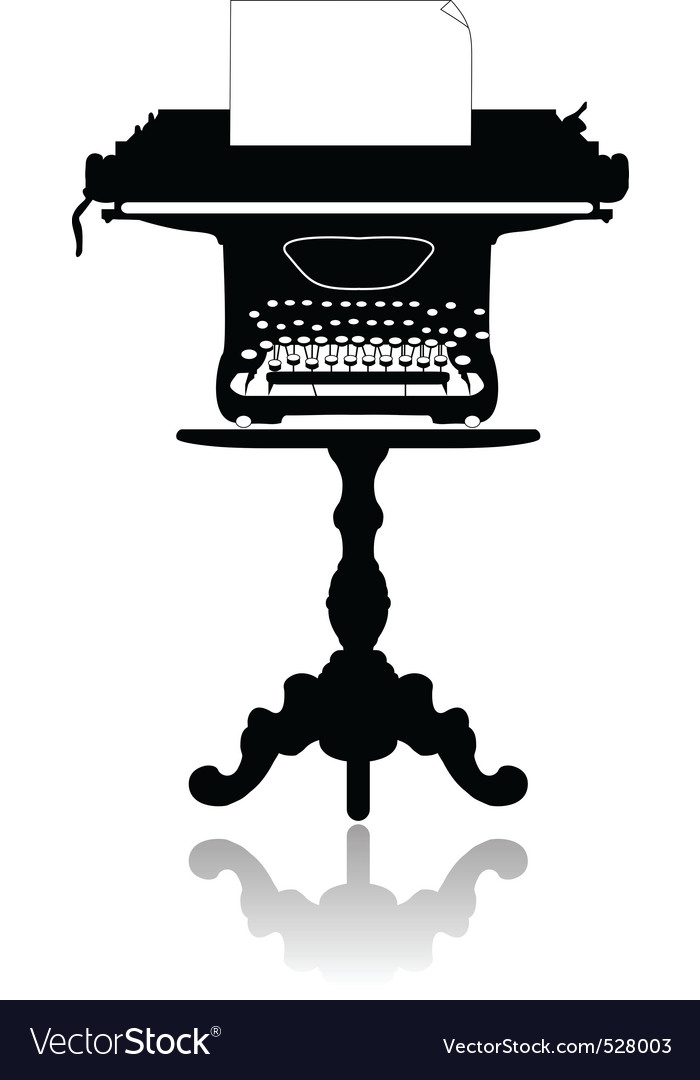 Typewriter on the coffee table vector | Price: 1 Credit (USD $1)