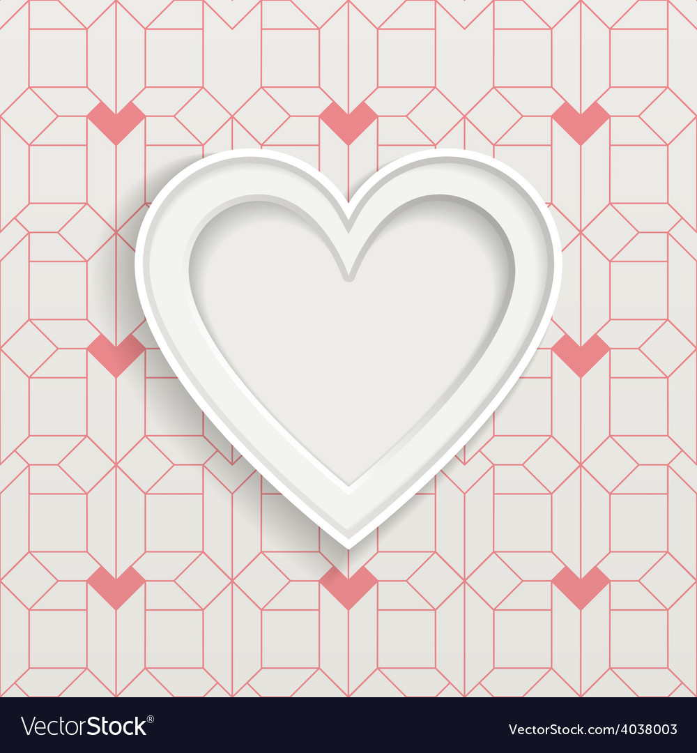 White frame in heart shape and geometric pattern vector | Price: 1 Credit (USD $1)