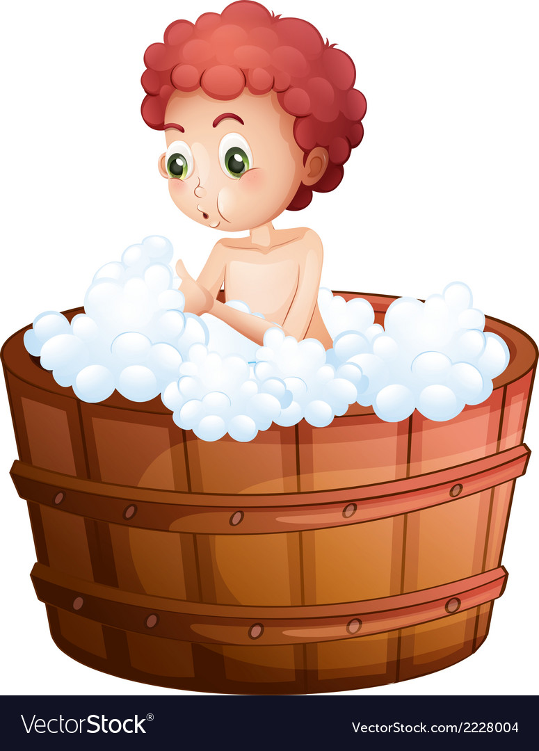 A young man taking a bath vector | Price: 1 Credit (USD $1)