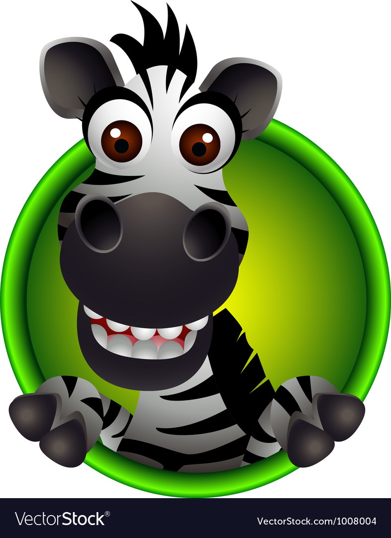 Cute zebra head cartoon vector | Price: 3 Credit (USD $3)