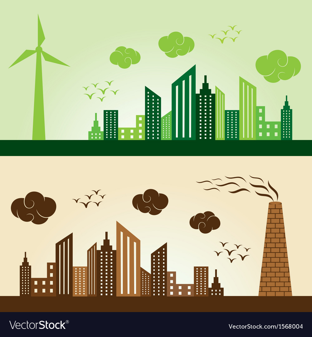 Eco and polluted city concept background stock vec vector | Price: 1 Credit (USD $1)