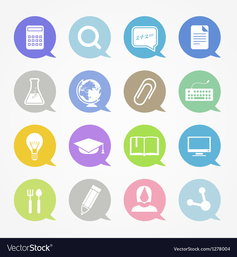 Education web icons set in color speech clouds vector | Price: 1 Credit (USD $1)