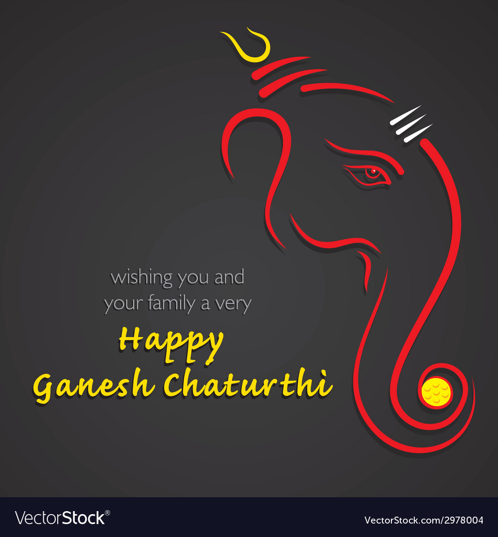 Happy ganesha chaturthi festival greeting vector | Price: 1 Credit (USD $1)