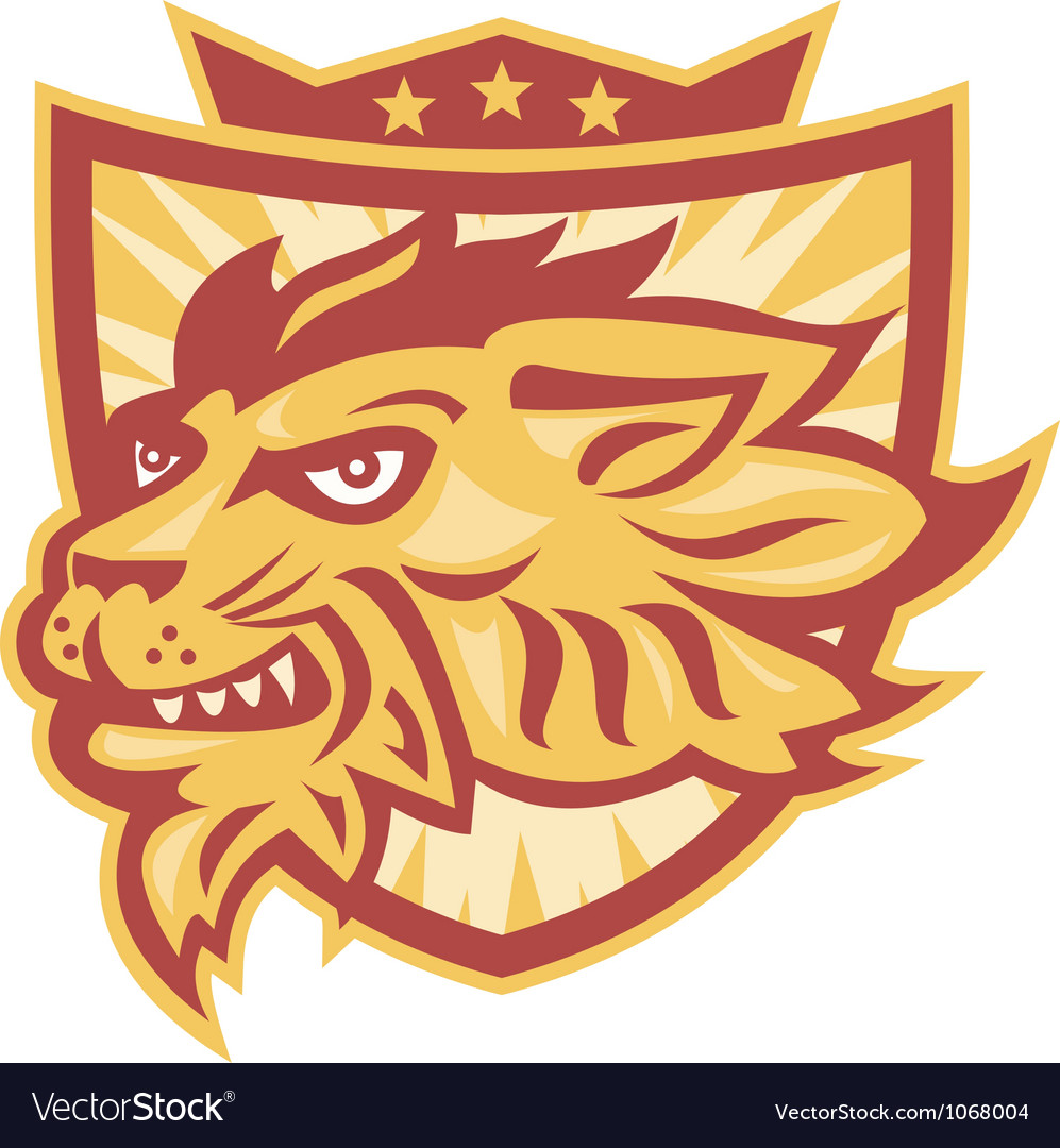 Lion mascot head shield vector | Price: 1 Credit (USD $1)