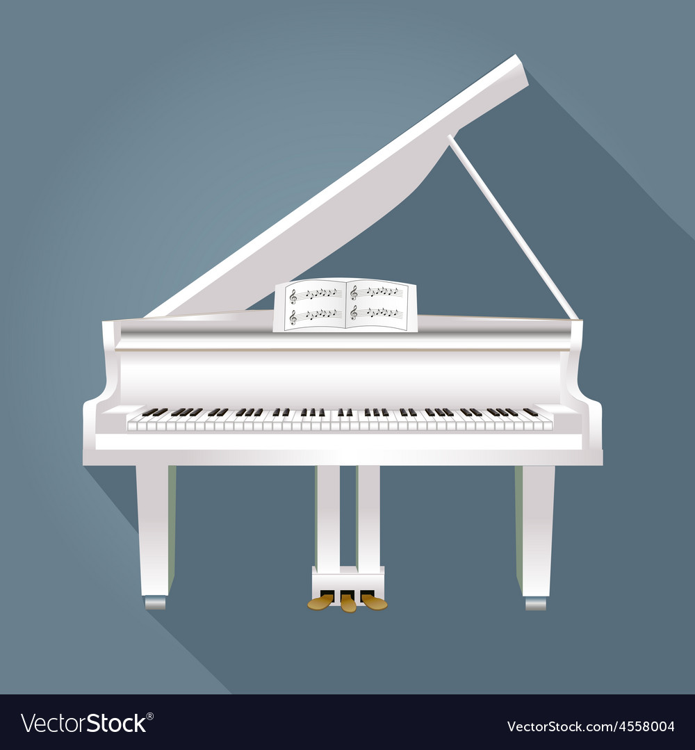 Piano with notes of white on a gray background vector | Price: 1 Credit (USD $1)