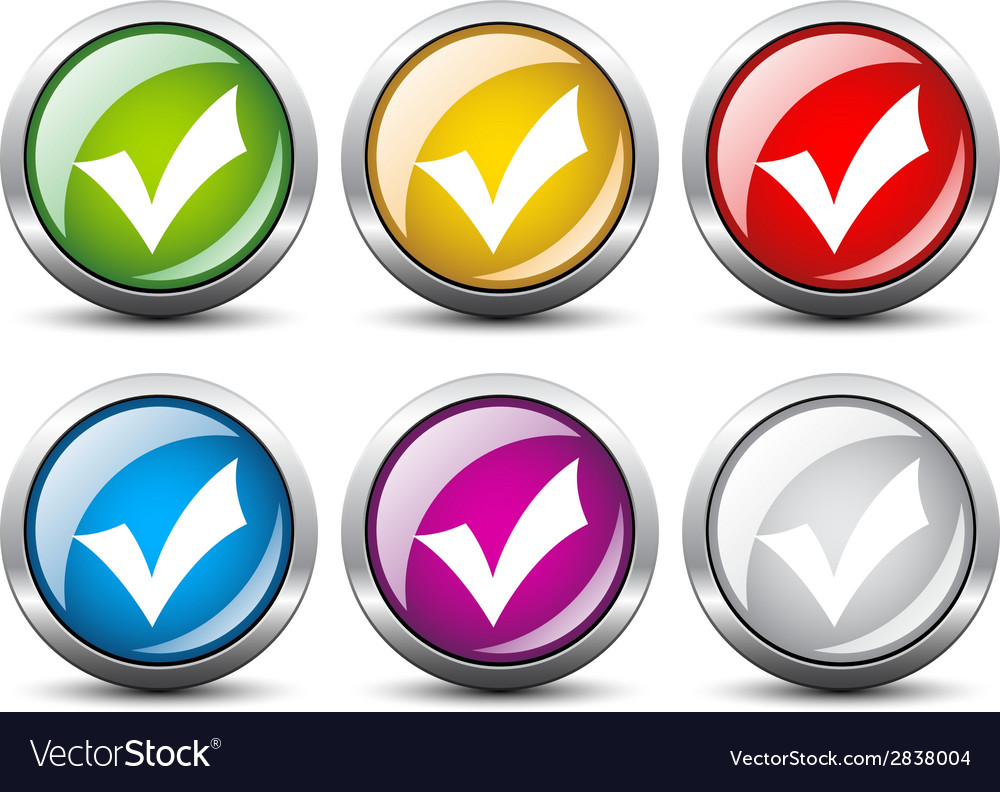 Positive checkmark buttons vector | Price: 1 Credit (USD $1)