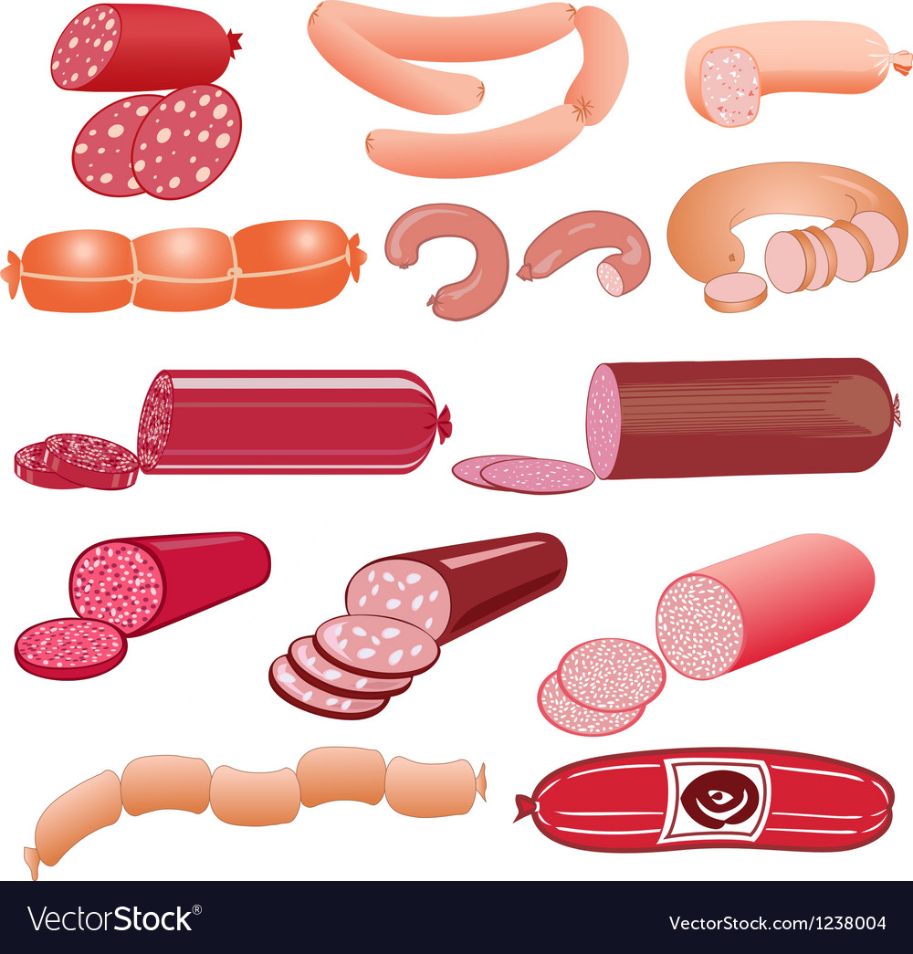 Set of sausage on a white background vector | Price: 3 Credit (USD $3)