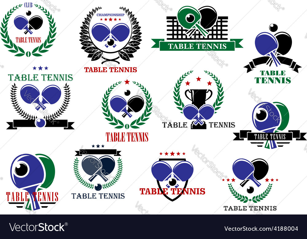 Table tennis sporting icons and labels set vector | Price: 1 Credit (USD $1)